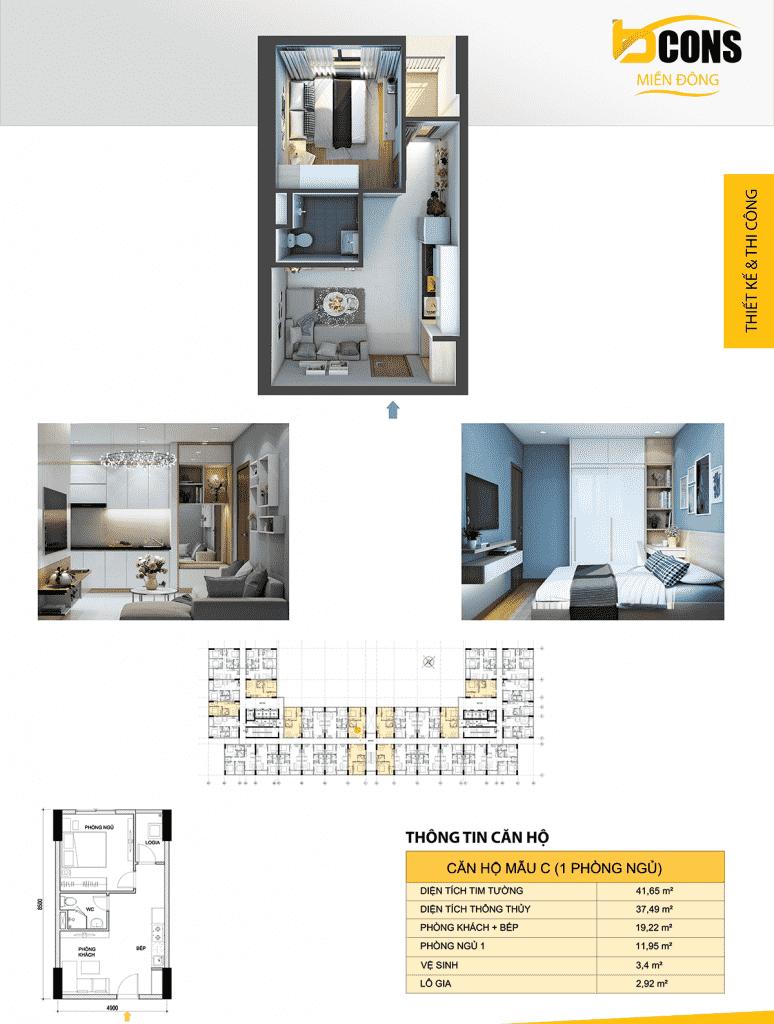 thiết kế căn hộ C bcons miền đông
