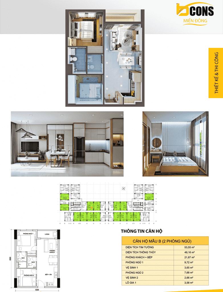 thiết kế căn hộ B dự án Bcons Miền Đông