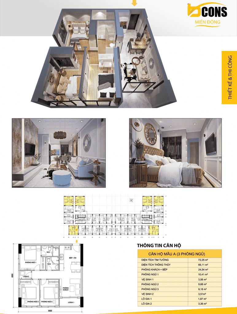 thiết kế căn hộ A dự án bcons miền đông