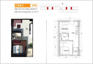 thiết kế căn hộ 1 phòng ngủ bcons