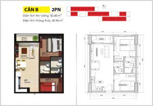 thiết kế căn hộ 2 phòng ngủ thường bcons suối tiên