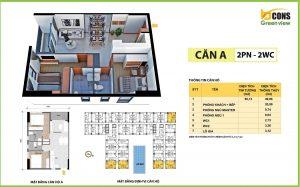 thiết kế căn hộ A bcons green view