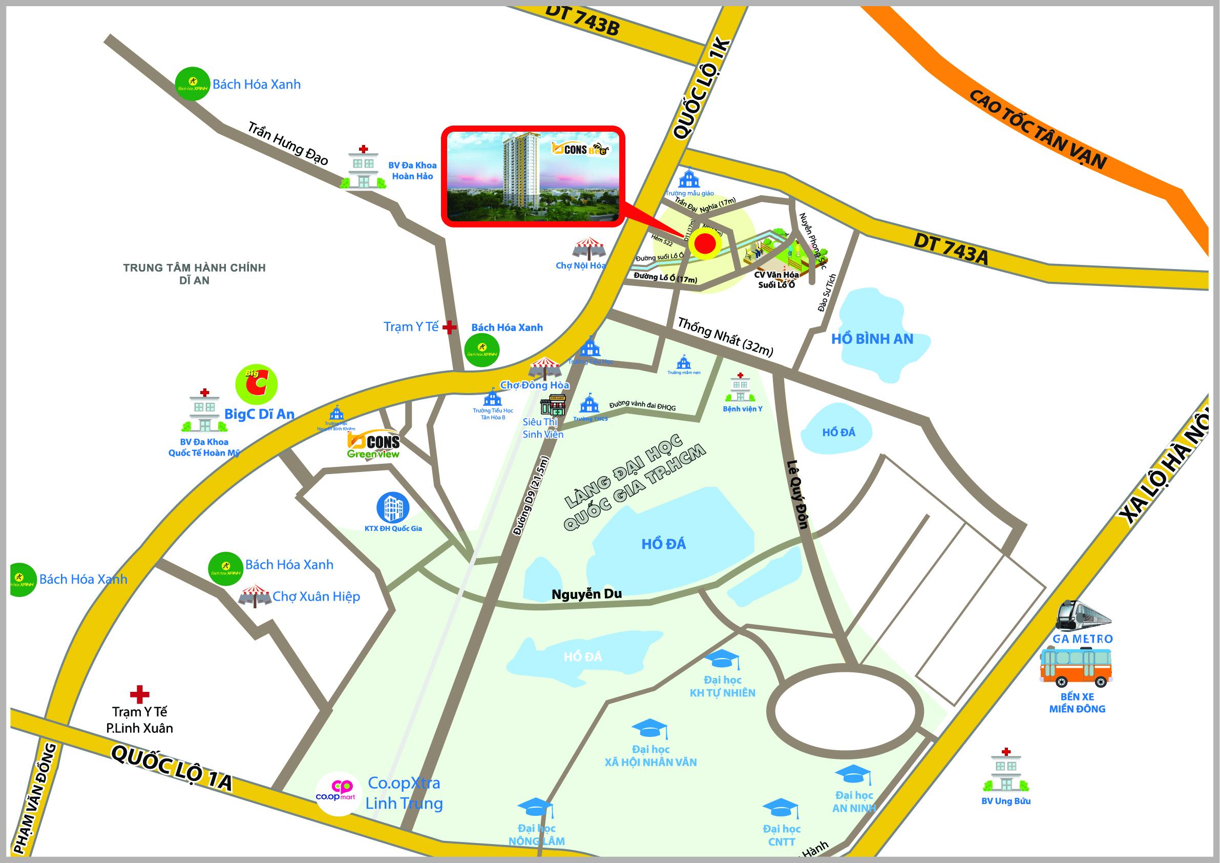 Vị trí dự án căn hộ chung cư Bcons Bee Nội Hóa