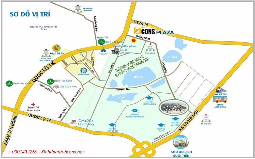 Vị tri dự án Bcons Plaza Thống Nhất, Đại Lộ Đông Tây